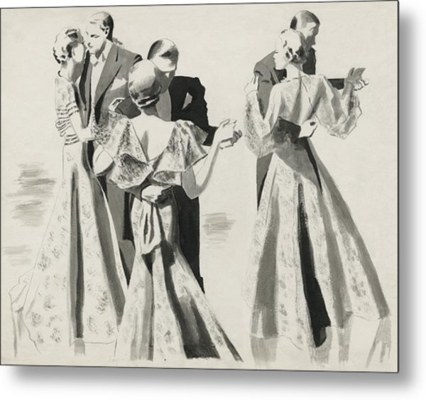 Three Couples Dancing Metal Print by Pierre Mourgue