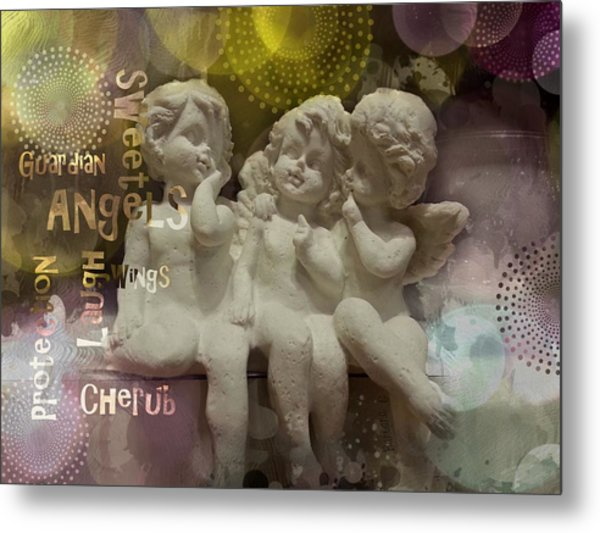 Three Cute Angels Metal Print