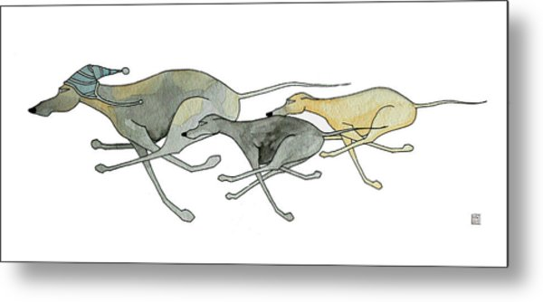 Three Dogs Illustration Metal Print