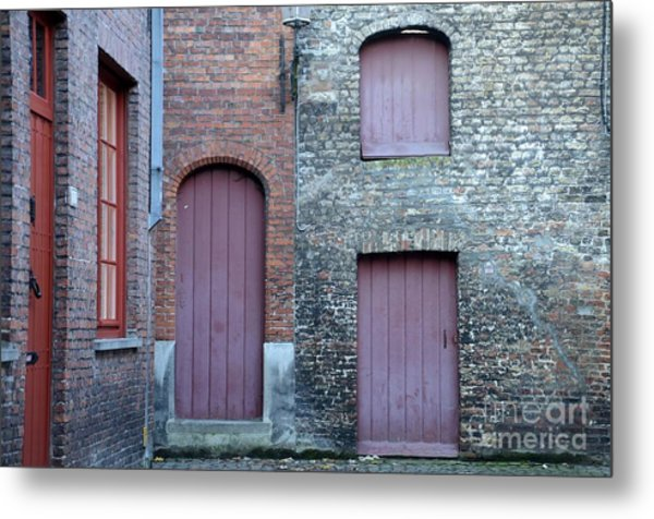 Three Doors And Two Windows Bruges, Belgium Metal Print