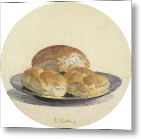 Three French  Rolls On An Iron Plate Metal Print by Ben Rikken