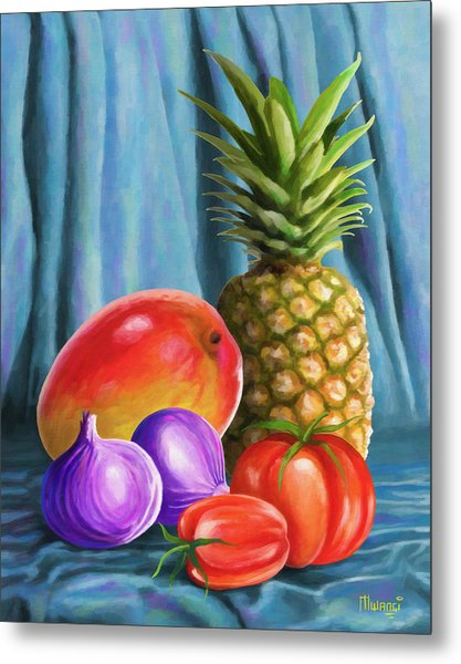 Three Fruits And A Vegetable Metal Print