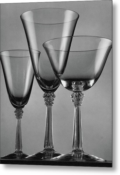 Three Glasses By Fostoria Metal Print