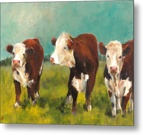 Three Herefords Metal Print by Cari Humphry