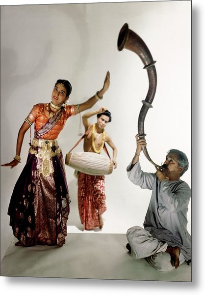 Three Indians Playing Music And Dancing Metal Print