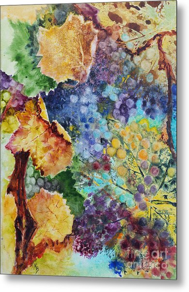 Metal Print featuring the painting Three Leaves by Karen Fleschler