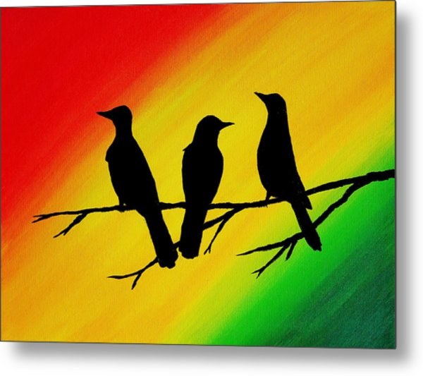 Three Little Birds Original Painting Metal Print