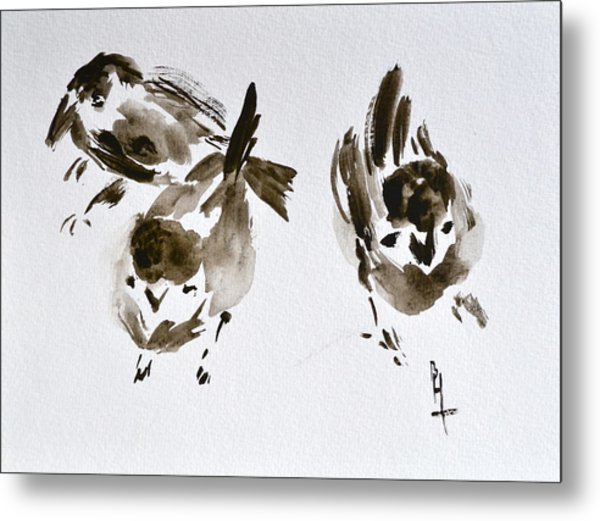Three Little Birds Perch By My Doorstep Metal Print