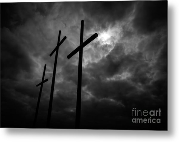 Three Lonely Crosses In The Mississippi Delta Metal Print