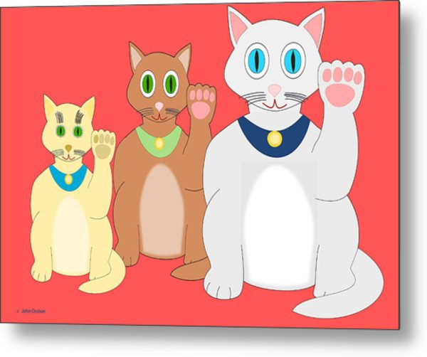 Three Lucky Cats Metal Print