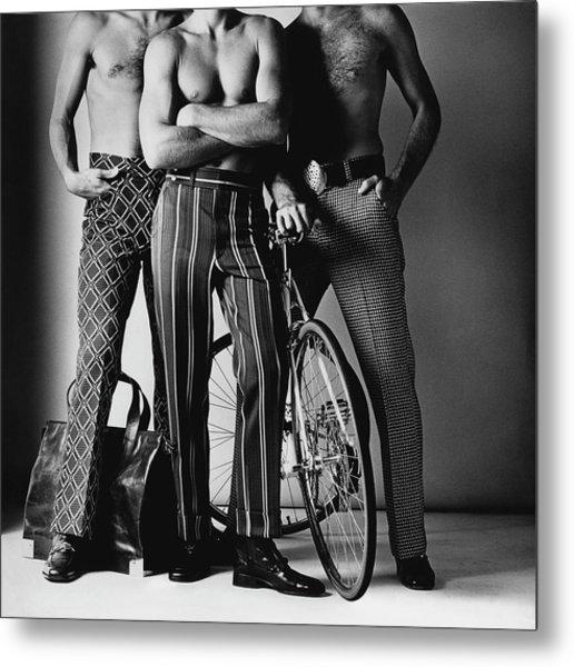 Three Male Models Wearing Patterned Trousers Metal Print by Ken Haak