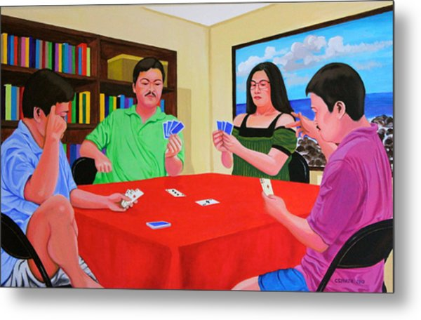 Three Men And A Lady Playing Cards Metal Print
