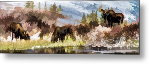 Three Moose Metal Print