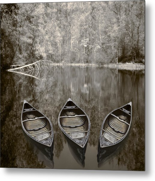 Three Old Canoes Metal Print