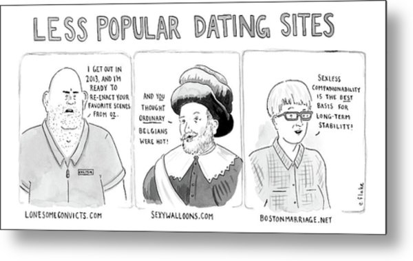 Three Panel Cartoon Of Online Dating Profiles Metal Print