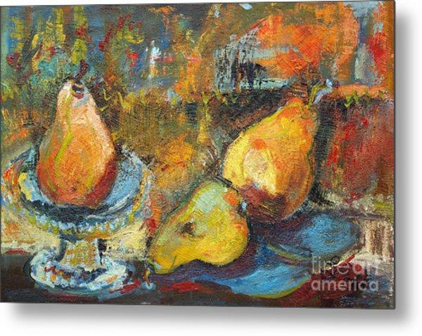 Three Pears Oil Painting Metal Print