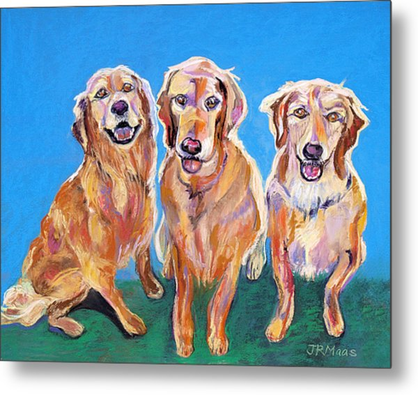 Three Playful Goldens Metal Print