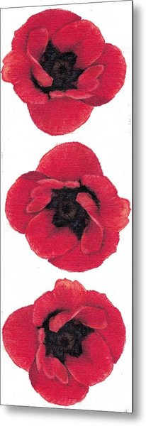 Three Red Poppies Metal Print