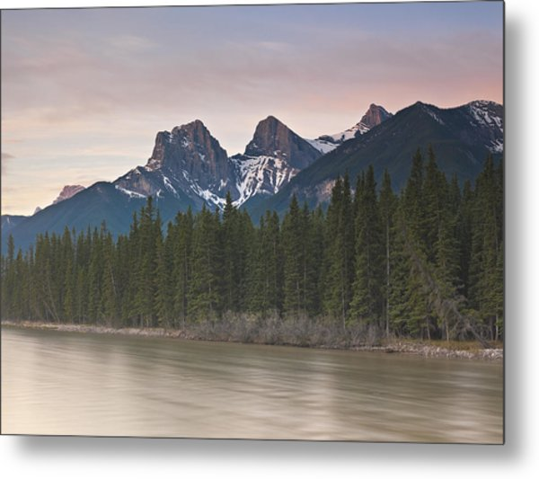Three Sisters And Bow River Canmore Metal Print