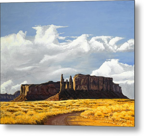 Three Sisters Monument Valley Metal Print