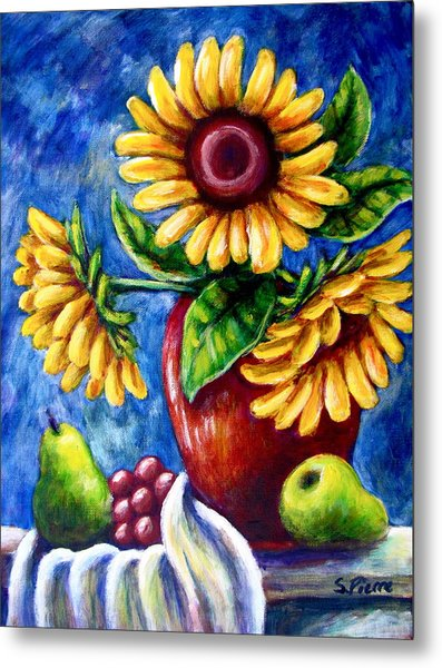 Three Sunflowers And A Pear Metal Print