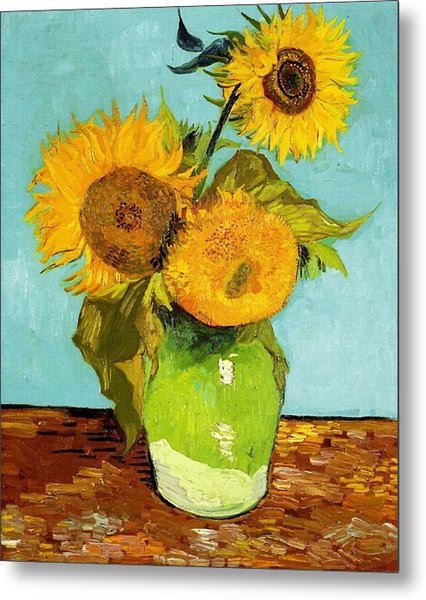 Three Sunflowers In A Vase Metal Print