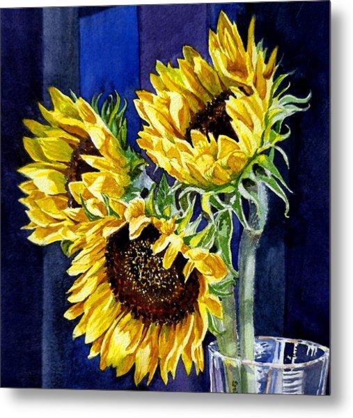 Three Sunny Flowers Metal Print