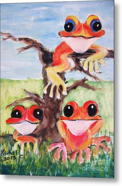 Three Tee Frogs Metal Print