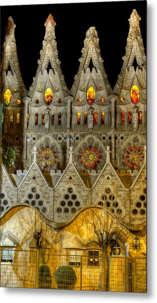 Three Tiers - Sagrada Familia At Night - Gaudi Metal Print