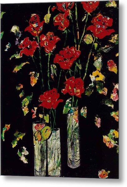 Three Vases With Roses Metal Print