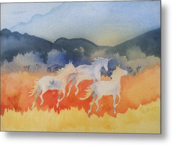Three Wild Horses Metal Print