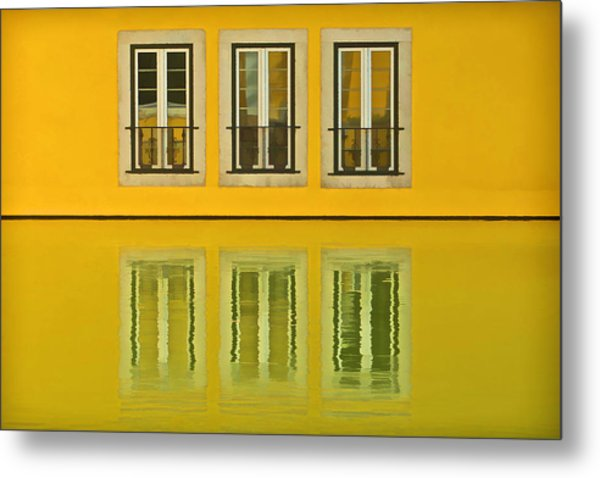 Three Windows Reflecting In The Water Metal Print