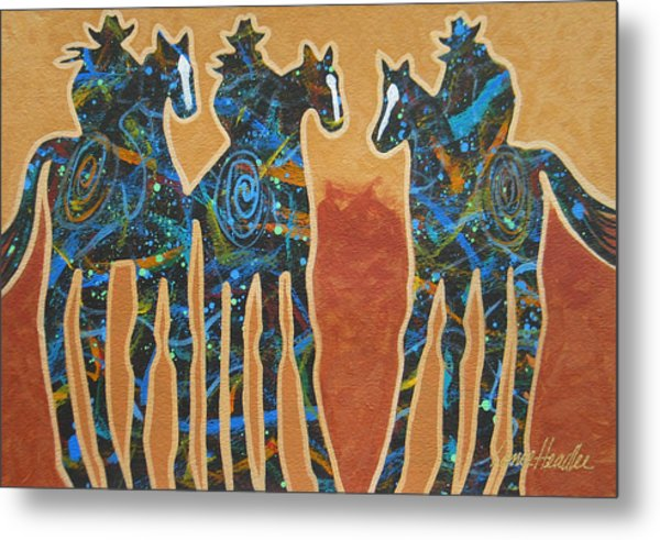 Three With Rope Metal Print