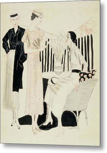Three Woman Around A Table With A Vase Of Flowers Metal Print by R.S. Grafstrom