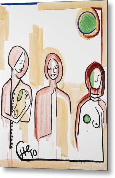 Three Women 40x30 Metal Print