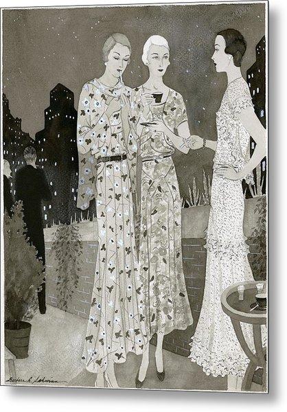 Three Women Outdoors Wears Jay-thorpe Metal Print by Barbara E. Schwinn