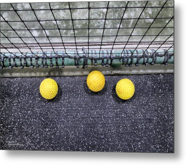 Three Yellow Balls Metal Print by Patricia Januszkiewicz