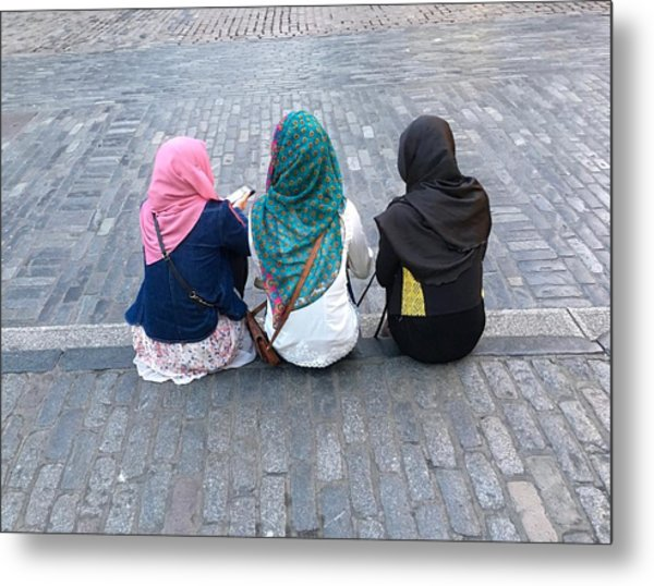 Three Young Muslim Girls Metal Print by Montes-Bradley