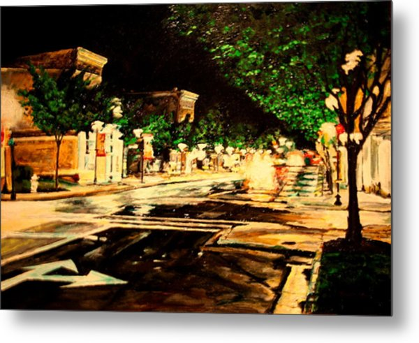 Through Some Place A Rainy Night Metal Print by Thomas Akers