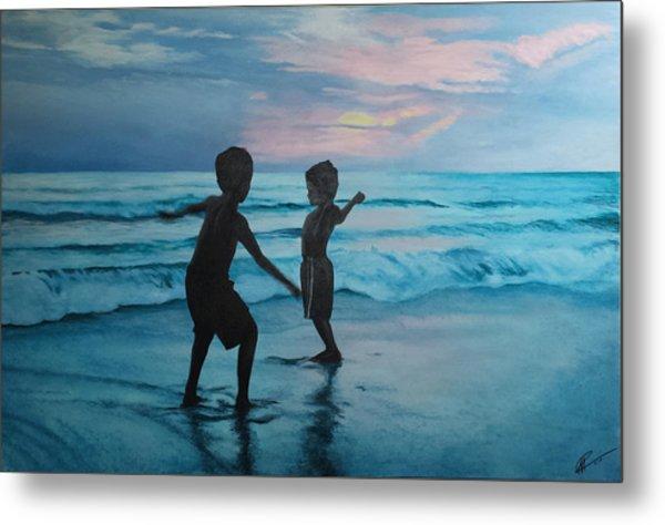 Throwing Sand Metal Print by Scott Robinson