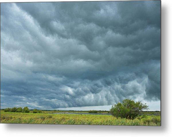 Thunder Storm Over Countryside Metal Print by Raimund Linke