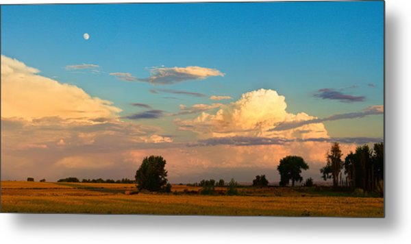 Thunderstorm Front Blue Sky And Moon Panorama Metal Print by James BO  Insogna