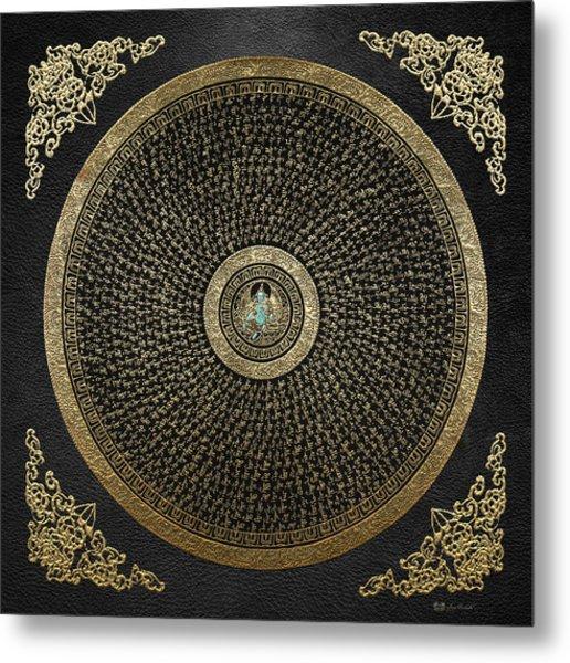 Tibetan Thangka - Green Tara Goddess Mandala With Mantra In Gold On Black Metal Print