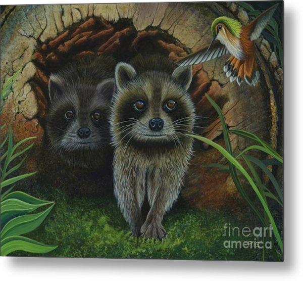 Tiffany And Raccoons Metal Print