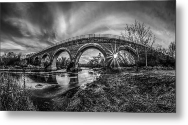 Tiffany Bridge Monochrome Metal Print