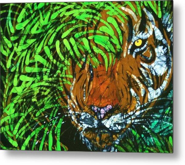 Tiger In Bamboo  Metal Print