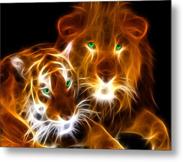 Tiger Lion  Metal Print