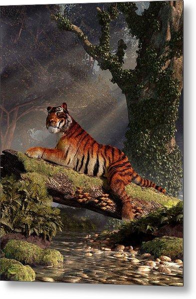 Tiger On A Log Metal Print