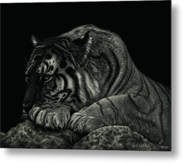 Tiger Power At Peace Metal Print