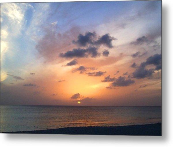 Tiki Beach Caribbean Sunset Metal Print